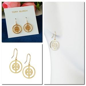 Tory Burch Gold Deco Logo Drop Earrings